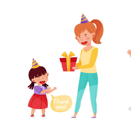 Polite Girl Expressing Gratitude to Woman for Gift Box Vector Illustration