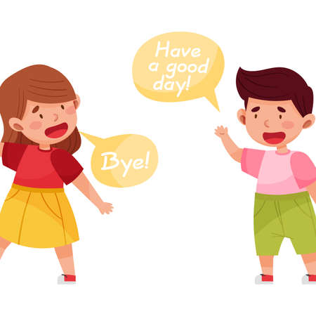 Cheerful Boy and Girl Saying Good-by to Each Other Vector Illustration Illustration