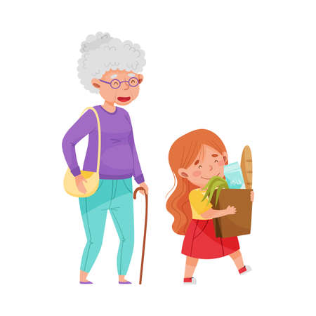 Polite Girl Carrying Shopping Bag Helping Senior Woman Vector Illustration