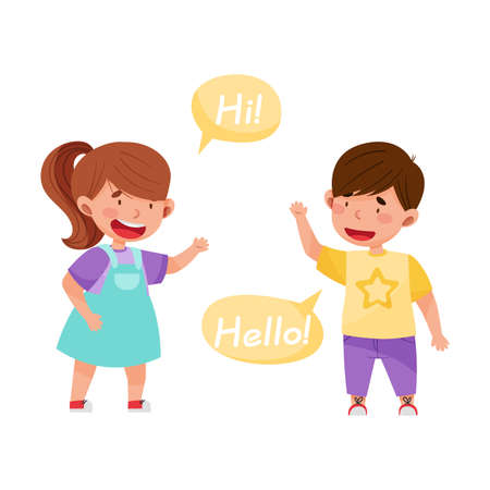 Cheerful Boy and Girl Saying Hello to Each Other Vector Illustration Illustration