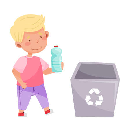 Little Boy Throwing Plastic Bottle in Trash Bin Vector Illustration