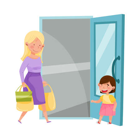 Little Girl Opening Door to Young Woman with Shopping Bags Vector Illustration Illustration