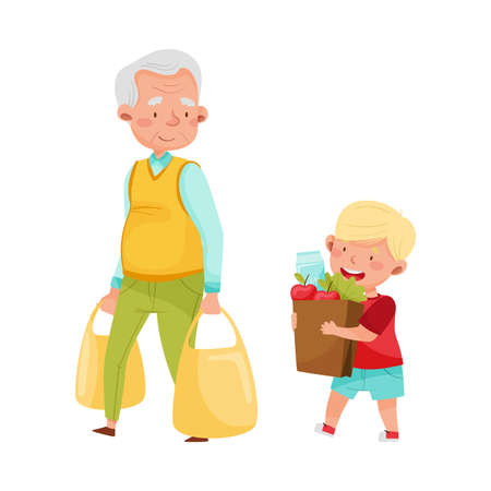 Polite Boy Carrying Shopping Bag Helping Senior Man Vector Illustration Illustration