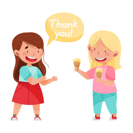 Polite Girl Expressing Gratitude to Her Agemate for Sharing Ice Cream Vector Illustration