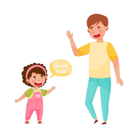 Cheerful Girl Saying Good-by to Young Man Vector Illustration Illustration