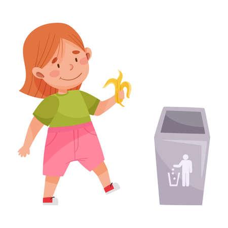 Little Girl Throwing Banana Skin in Trash Bin Vector Illustration Ilustración de vector
