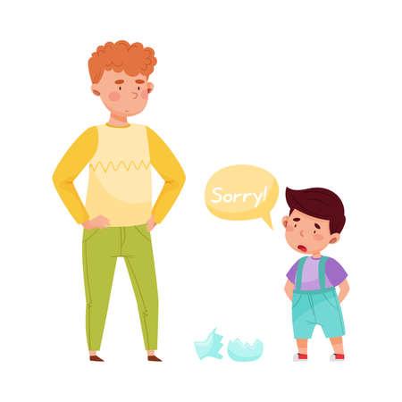 Little Boy Apologizing for Broken Vase Vector Illustration