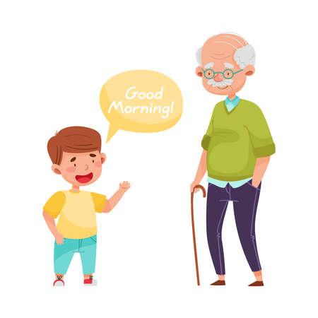 Cheerful Boy Saying Good Morning to Senior Man Vector Illustration