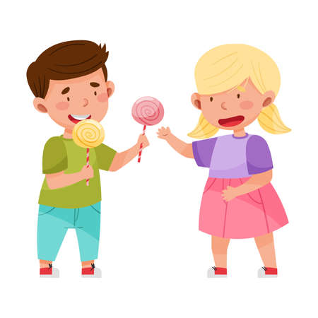 Little Girl Sharing Candy with Boy Vector Illustration