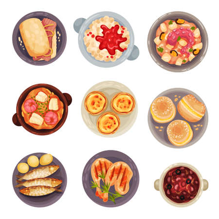 Portuguese Dishes and Desserts with Sardines and Tartlet View from Above Vector Set