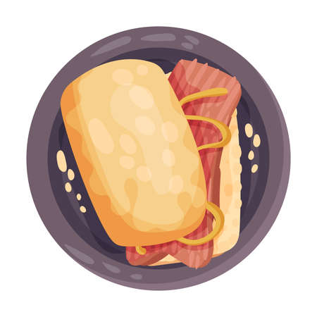Sandwich with Pita Bread and Salmon Slice as Portuguese Snack View from Above Vector Illustration 矢量图像