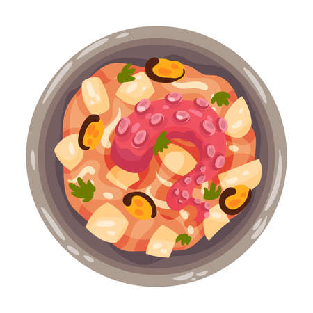 Mulligan Stew or Boiled Dinner with Seafood and Vegetables as Portuguese Dish View from Above Vector Illustration