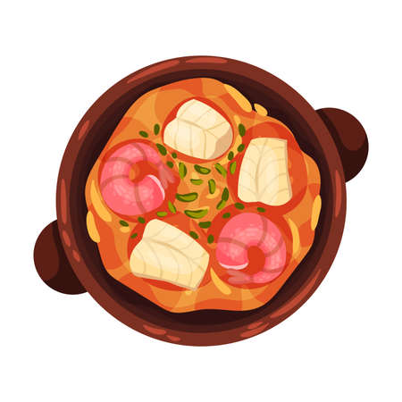 Stew or Boiled Dinner with Seafood Garnished with Herbs as Portuguese Dish View from Above Vector Illustration