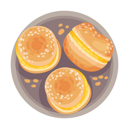 Doughnut with Pastry Cream as Portuguese Dessert View from Above Vector Illustration
