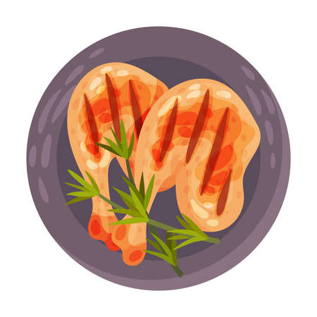 Grilled Chicken Legs Garnished with Herbs as Portuguese Dish View from Above Vector Illustration