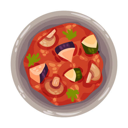 Stew or Boiled Dinner with Mushrooms Garnished with Herbs as Portuguese Dish View from Above Vector Illustration