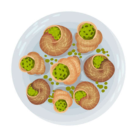 Snails Stuffed with Greenery as Portuguese Dish View from Above Vector Illustration