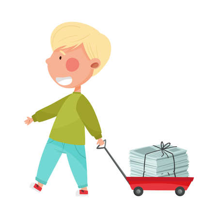 Boy Character Carrying Pile of Paper as Sorted Garbage for Recycling Vector Illustration Ilustração