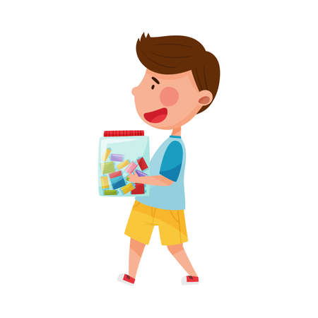 Dark Haired Boy Character Carrying Container with Lighters as Sorted Garbage for Recycling Vector Illustration