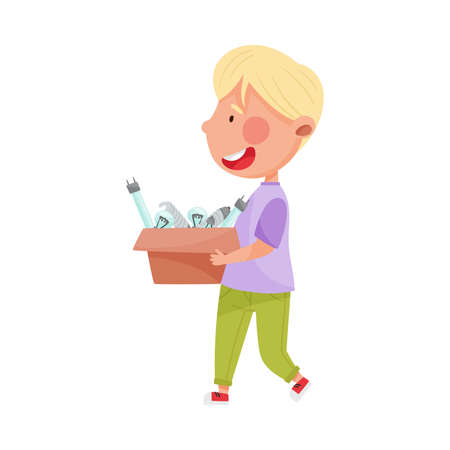 Blonde Haired Boy Character Carrying Light Bulbs for Recycling Vector Illustration