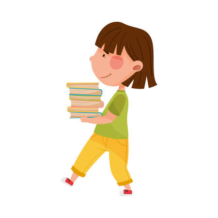 Girl Character Carrying Pile of Books as Sorted Garbage for Recycling Vector Illustration Ilustração