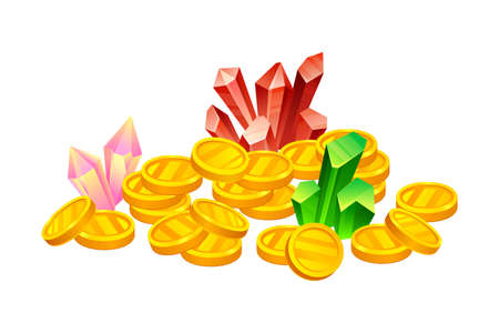 Pile of Golden Coins and Gemstones Vector Illustration