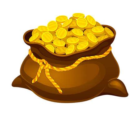 Bag or Sack Full with Golden Coins Vector Illustration