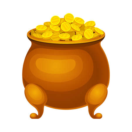 Copper Cauldron Full with Golden Coins Vector Illustration