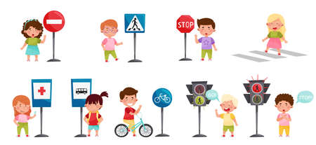 Smiling Kid Characters Learning Road Signs and Traffic Rules Vector Illustration Set