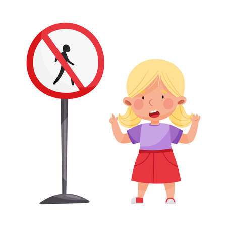 Little Girl Standing Near Road Sign Learning Traffic Rules Vector Illustration