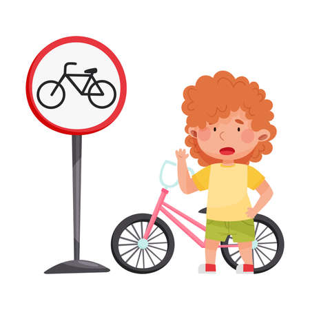 Little Girl Standing with Bicycle Learning Road Sign and Traffic Rules Vector Illustration Ilustração