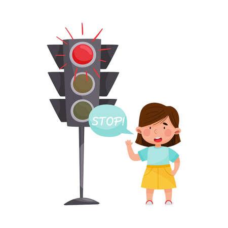 Little Girl Standing Near Stop and Go Light Waiting Vector Illustration