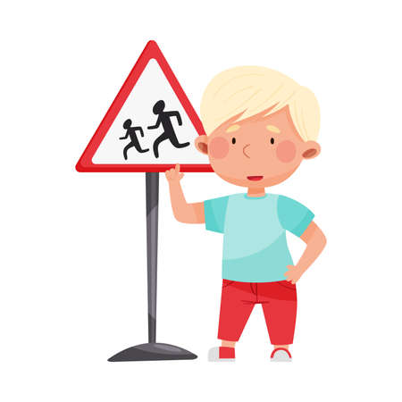 Little Boy Pointing at Road Sign Learning Traffic Rules Vector Illustration