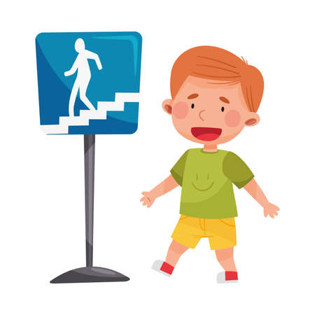 Cheerful Boy Walking Along Street Learning Road Signs and Traffic Rules Vector Illustration Ilustração