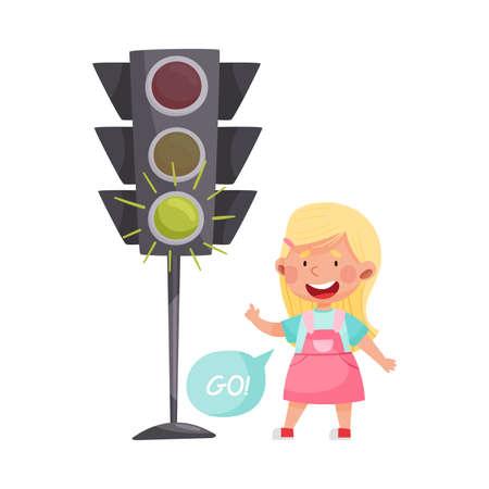 Little Girl Crossing Road at Green Light Vector Illustration Ilustração