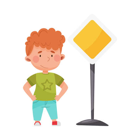 Little Boy Standing Near Road Sign Learning Traffic Rules Vector Illustration