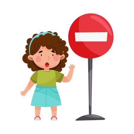 Cute Girl Standing Near Road Sign Vector Illustration Ilustração