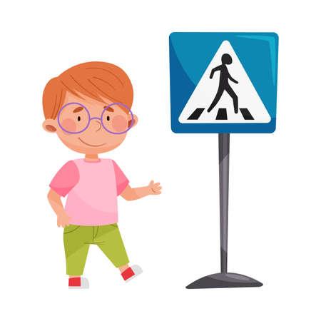 Cute Boy Standing Near Pedestrian Crossing Road Sign Vector Illustration