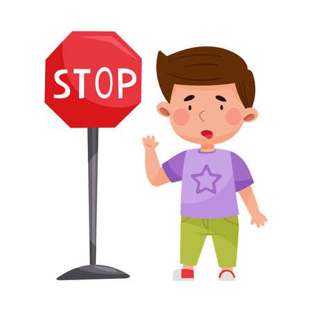 Funny Boy Standing Near Stop Road Sign Vector Illustration Ilustração