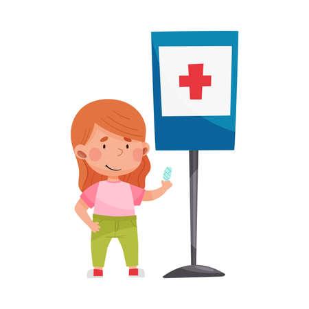 Cute Girl Standing Near Hospital Road Sign Vector Illustration