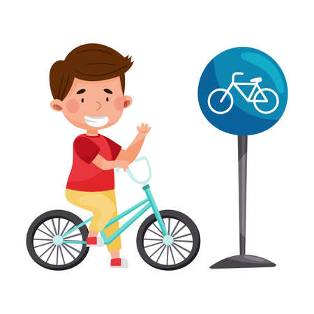 Smiling Boy Cycling Near Bicycle Road Sign Vector Illustration