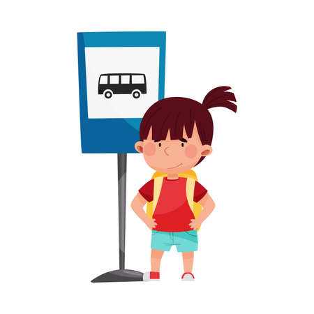 Cute Girl Standing Near Bus Stop Road Sign Vector Illustration