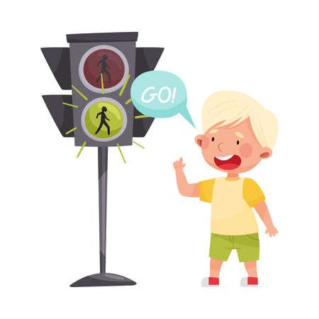 Little Boy Crossing Road at Green Light Vector Illustration