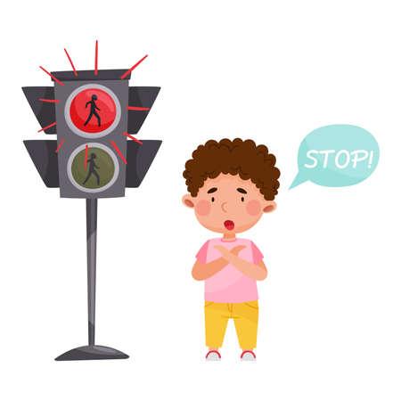 Cute Boy Standing Near Red Traffic Light as Road Sign Vector Illustration Ilustração