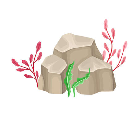 Angulated Sea Stone or Subsurface Rock with Seaweeds and Algae Vector Composition Ilustración de vector