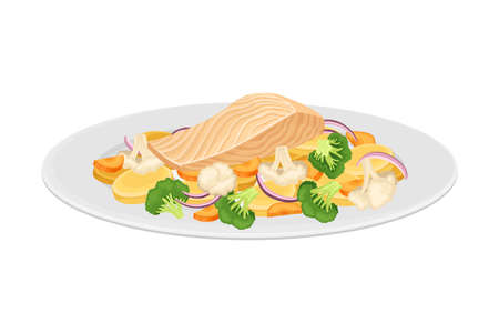 Salmon Slab with Vegetables as Seafood Dish Vector Illustration