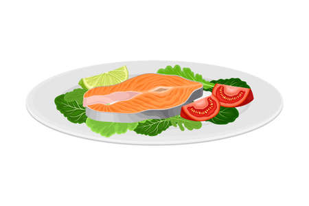 Salmon Steak with Leafy Vegetables as Seafood Dish Vector Illustration Vetores