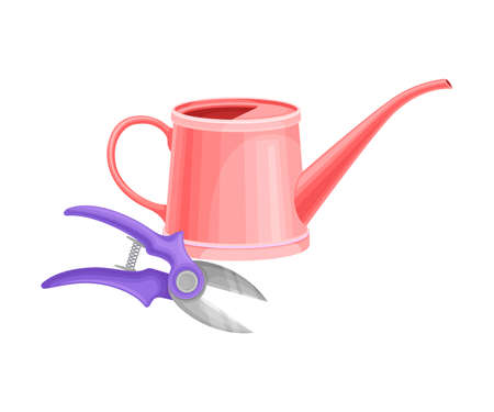 Watering Can and Pruner as Garden Tool for Pouring and Cutting Plants Vector Illustration
