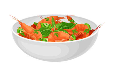 Shrimps with Green Vegetables as Seafood Dish Vector Illustration