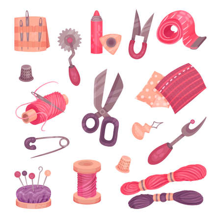 Sewing Accessories and Fittings with Measuring Tape and Scissors Vector Set